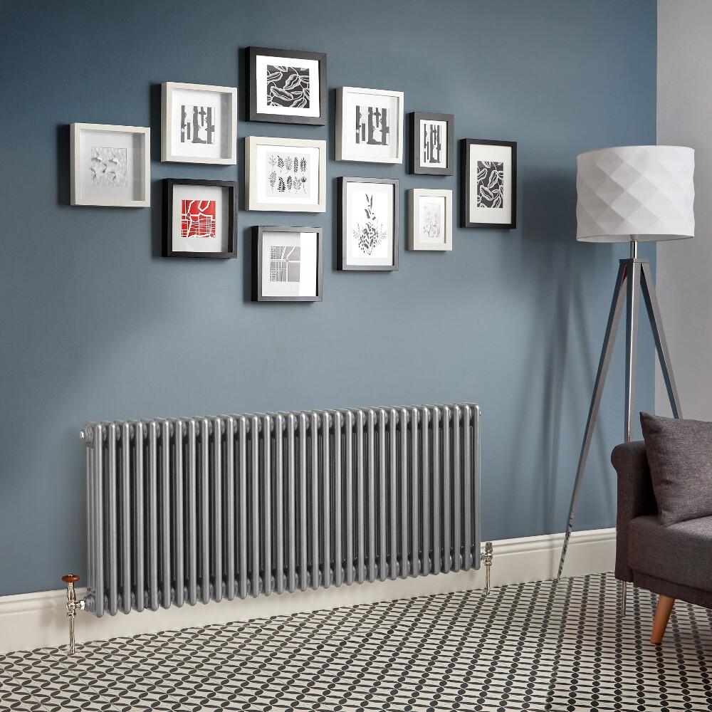 Kolomradiator Horizontaal Zilver Metallic | Kies de Afmeting | Windsor