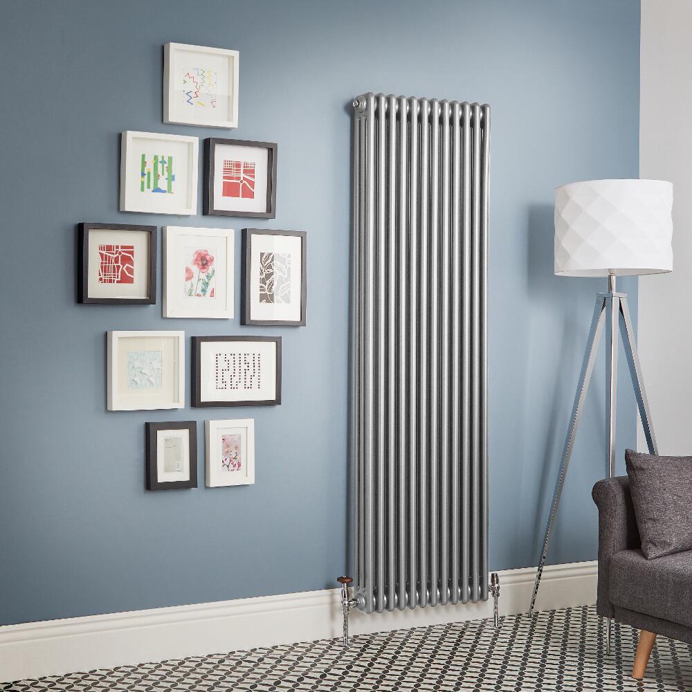 Kolomradiator Verticaal Zilver Metallic Staal | Kies de Afmeting | Windsor