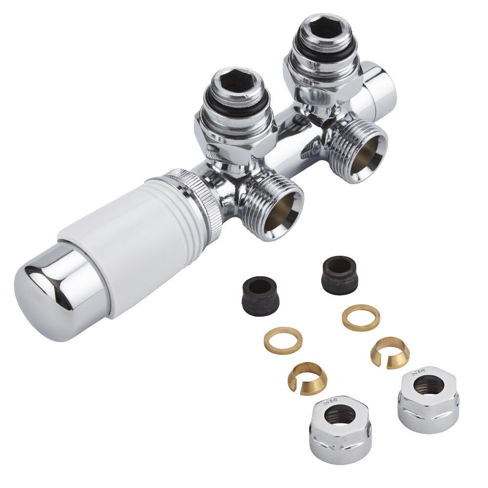 H-Blok 2-pijps Thermostatische Radiatorkraan Haaks  3/4'' Mannelijk Chroom/Wit 14mm Koperen Adapter