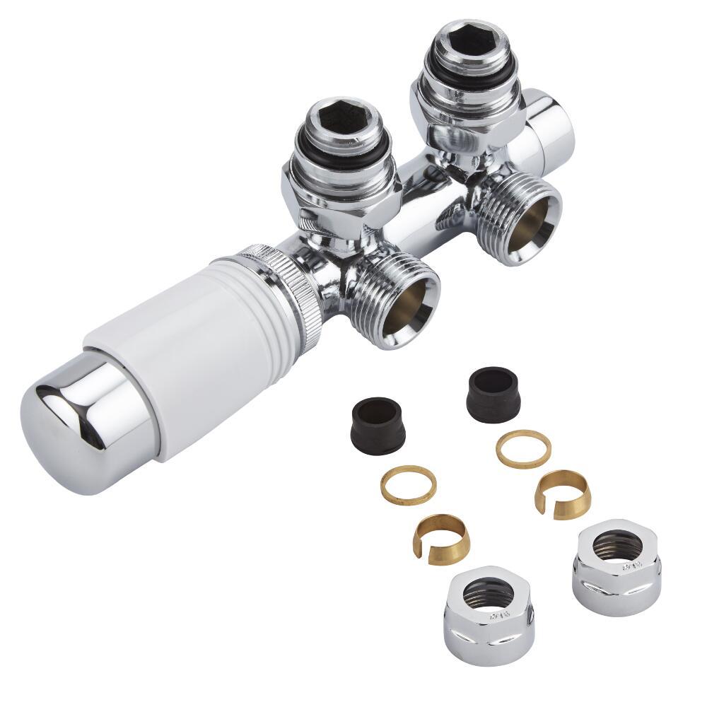 H-Blok 2-pijps Thermostatische Radiatorkraan Haaks  3/4'' Mannelijk Chroom/Wit 16mm Koperen Adapter