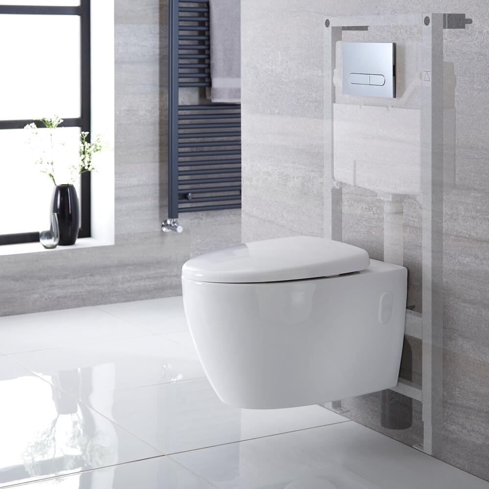 Kenton hangend Keramiek Toilet  incl Inbouwreservoir ( Large) en Keuze Spoelknop
