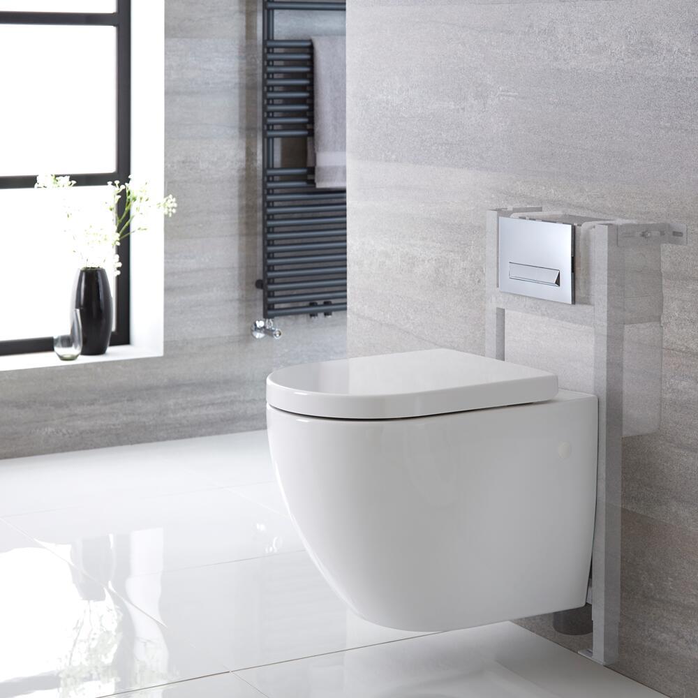 Ashbury Hangend Keramiek Toilet incl Inbouwreservoir ( Small) en Keuze Spoelknop