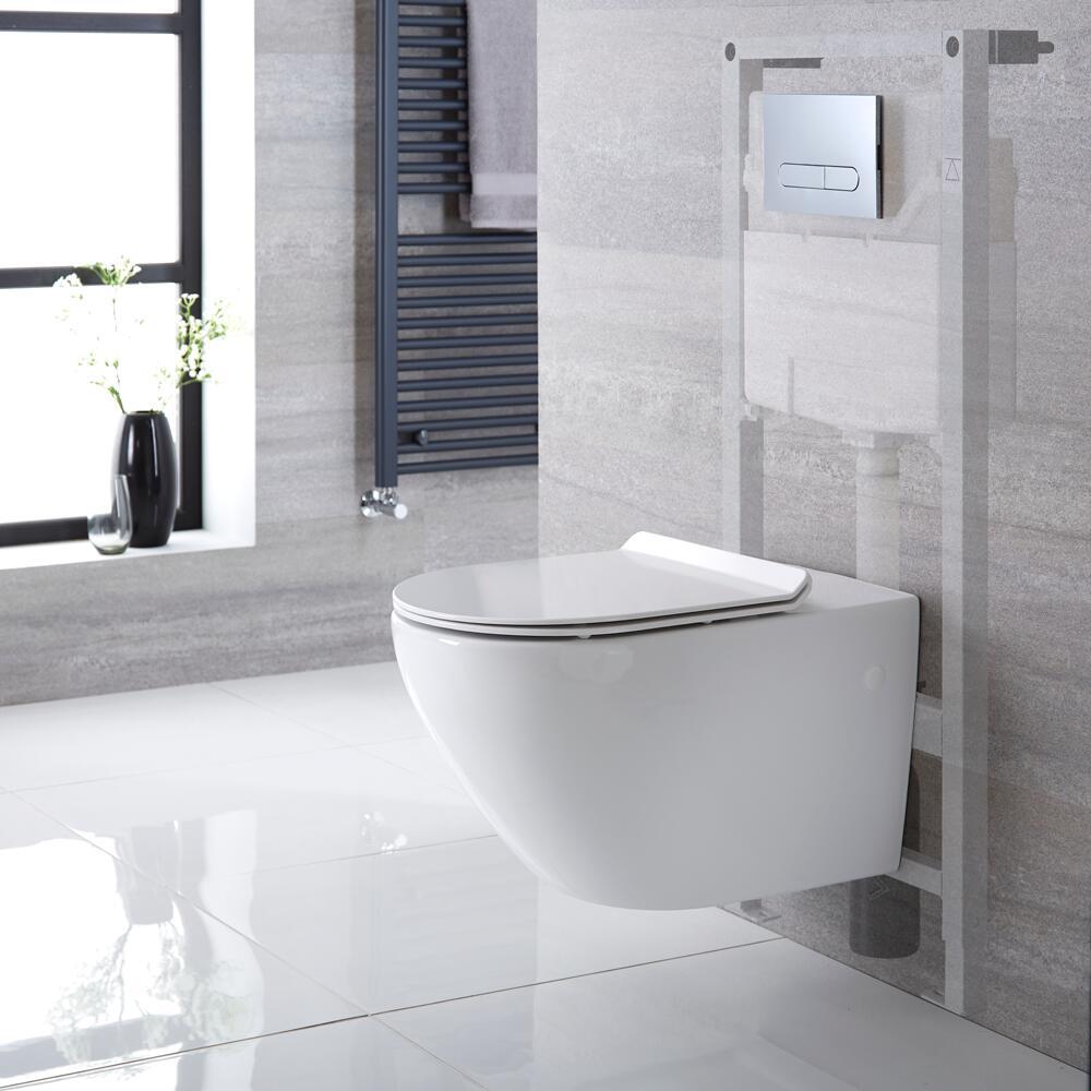 Otterton Hangend Keramiek Toilet Ovaal incl Inbouwreservoir ( Large) en Keuze Spoelknop