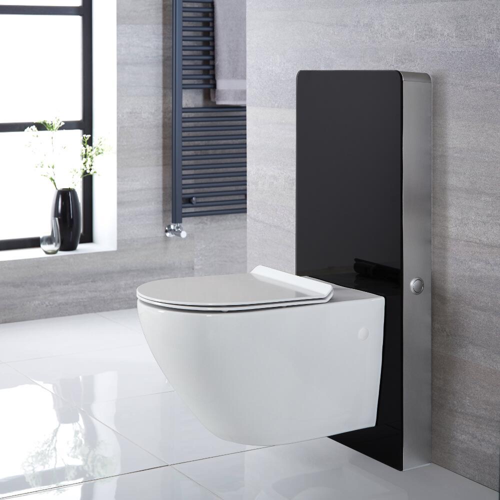Hangend Randloos Toilet | Otterton en Stortbak Ombouw Touch-free Bedieningspaneel Zwart 50cm | Saru